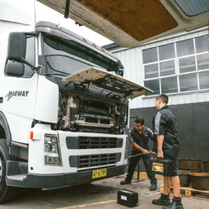 Daniel and Harisson doing servicing of a truck that is part of the Micway fleet serviced by Daniels Automotive