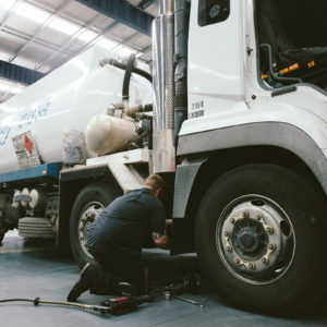 A heavy vehicle being checked for defects at Daniels Automotive