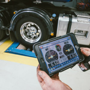 Device showing results of a brake shaker test at Daniels Automotive workshop